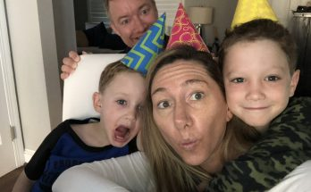 Rebecca Lombardo temporary stay at home mom with her family